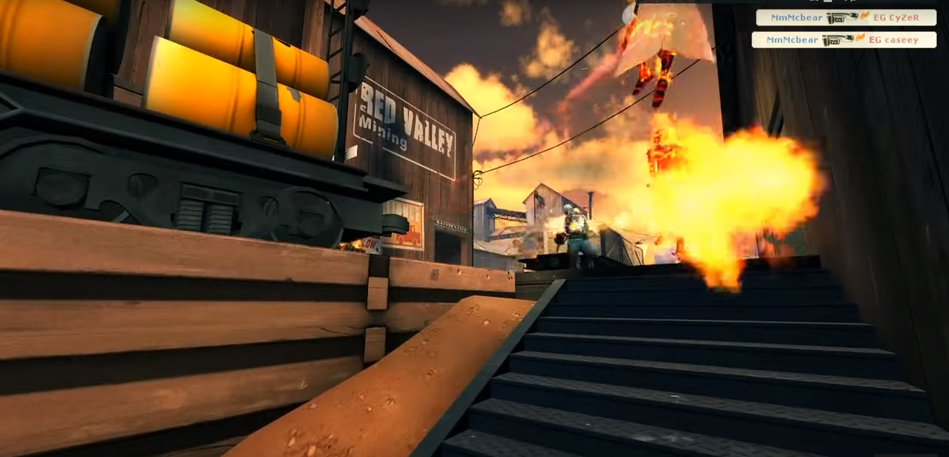 MmM roamer cbear on pyro flanking through shithouse against EG on mid (image taken from one of TF2's most phenomenal frag videos, Muscle Milk and Moolians)